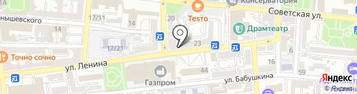 АСТ тур на карте Астрахани