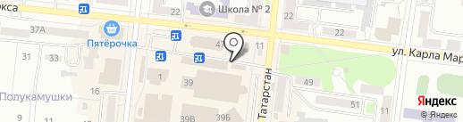 Киоск по продаже хлебобулочных изделий на карте Зеленодольска
