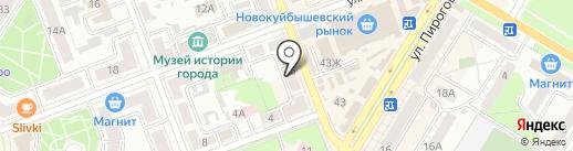 Магазин продуктов на карте Новокуйбышевска