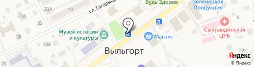 Киоск по продаже фруктов и овощей на карте Выльгорта