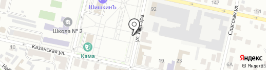Монокль на карте Елабуги