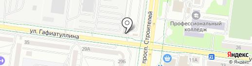 Продуктовый магазин на проспекте Строителей на карте Альметьевска