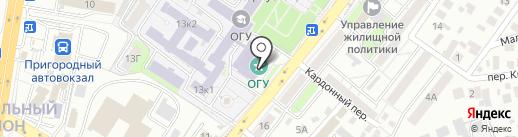 Оренбургский государственный университет на карте Оренбурга