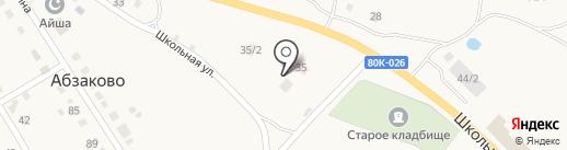 Отделение почтовой связи на карте Абзаково
