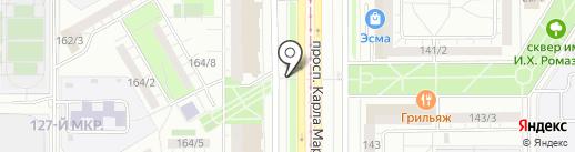 Ночная автопарковка на карте Магнитогорска