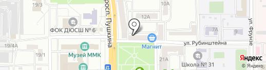 Абрис на карте Магнитогорска