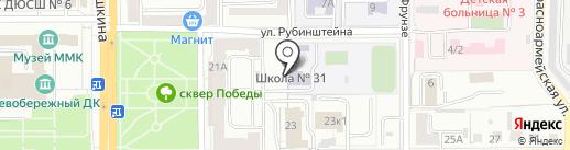 Средняя общеобразовательная школа №31 на карте Магнитогорска