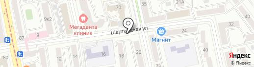 Киоск по продаже фруктов и овощей на карте Екатеринбурга