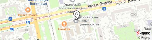 Географ на карте Екатеринбурга