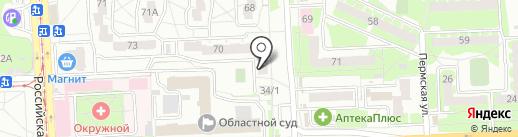 Алексеевский на карте Челябинска
