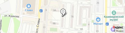 Продуктовый магазин на проспекте Славы на карте Копейска