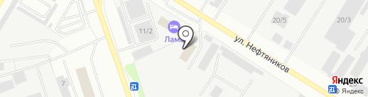 Автомойка на ул. Нефтяников на карте Нефтеюганска