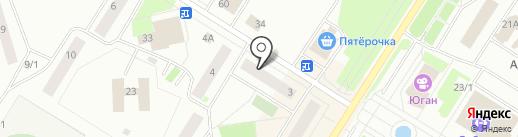 Магазин канцелярских товаров на карте Нефтеюганска