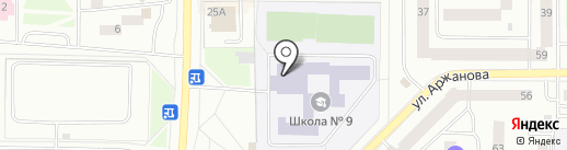 Средняя общеобразовательная школа №9 на карте Нефтеюганска