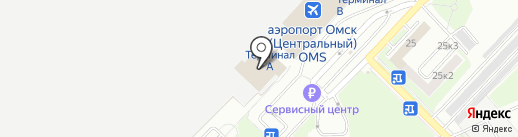 Омский аэропорт на карте Омска