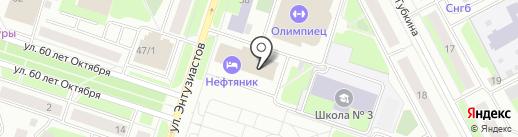 Нефтяник на карте Сургута