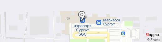 Аэропорт Сургут на карте Сургута