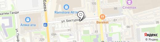 Нотариусы Бактыбаева Р.З. и Бронникова Л.И. на карте Алматы