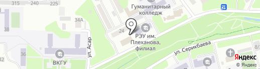 Nota на карте Усть-Каменогорска
