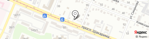 СТО на Ворошилова 100 на карте Усть-Каменогорска
