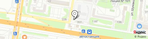 Киоск по продаже хлебобулочных изделий на карте Барнаула