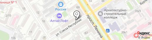 Исток на карте Барнаула
