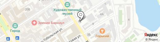 Грифон на карте Барнаула