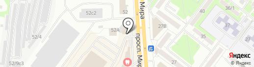 Зонт на карте Томска