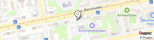 Автозапчасти на Васильева на карте Бийска