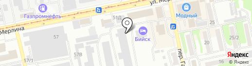 Интерм на карте Бийска