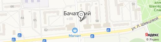 Киоск по продаже фруктов и овощей на карте Бачатского