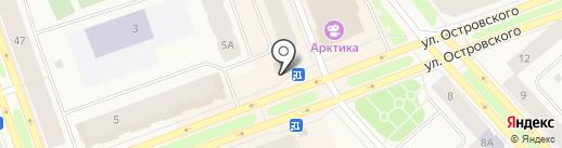 Остановка, супермаркет на карте Дудинки