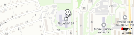 Лицей №57 на карте Прокопьевска