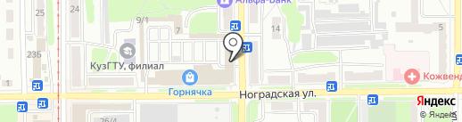 Нимфа на карте Прокопьевска