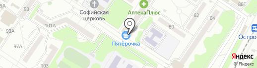 Три богатыря на карте Новокузнецка
