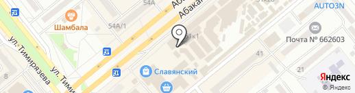 Киоск по продаже молочных продуктов на карте Минусинска