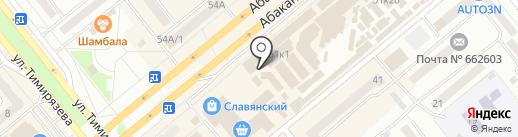 Киоск по продаже овощей и фруктов на карте Минусинска