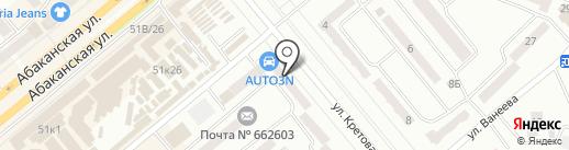 Велья на карте Минусинска