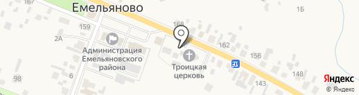 Храм Святой Троицы на карте Емельяново