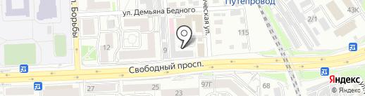 Енисей на карте Красноярска