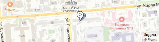 Барышня на карте Красноярска