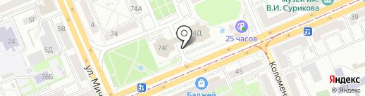 Лазурный остров на карте Красноярска