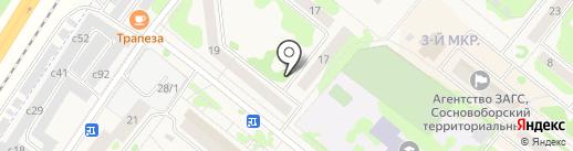 Киоск по продаже мороженого на карте Сосновоборска
