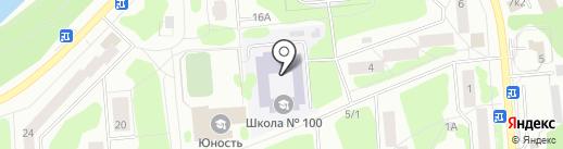 Средняя общеобразовательная школа №100 на карте Железногорска