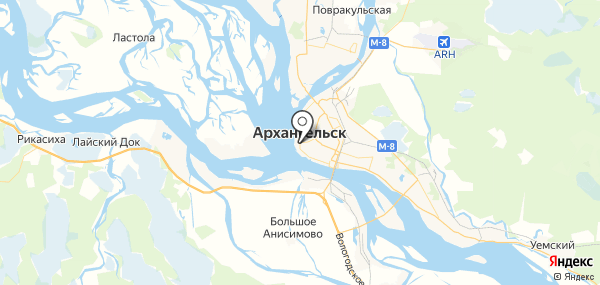 Архангельск на карте