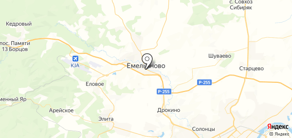 Емельяново на карте