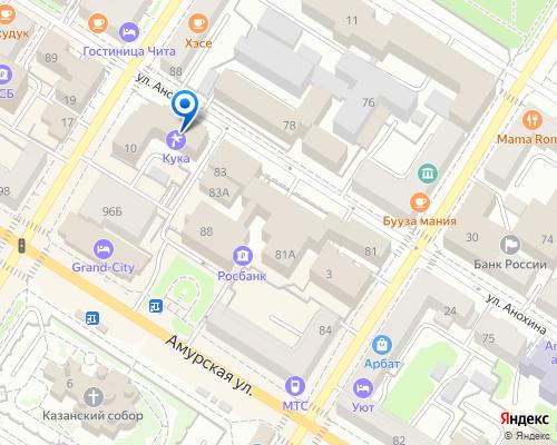 Расположение магазина NSP в Чите на Яндекс карте