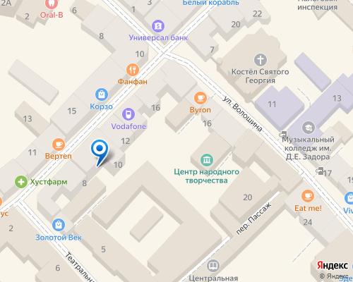 Расположение магазина NSP в Ужгороде на Яндекс карте