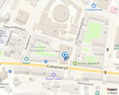 Расположение магазина NSP в Ровно на Яндекс карте