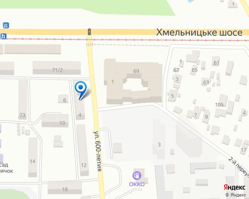 Расположение магазина NSP в Виннице на Яндекс карте